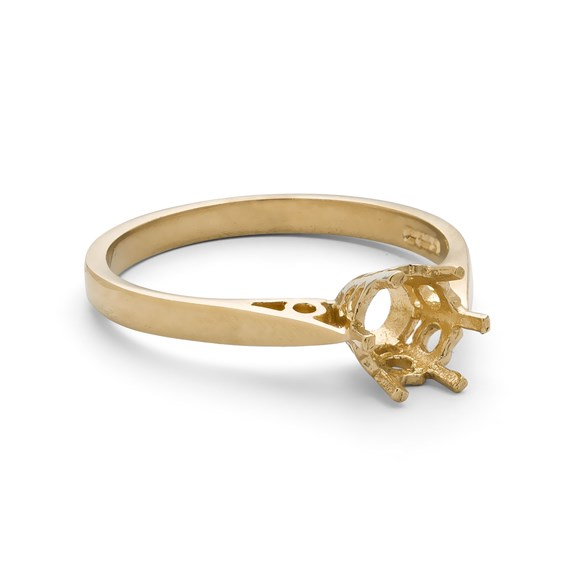 9ct Gold Ring for 4mm Round Faceted Stone
