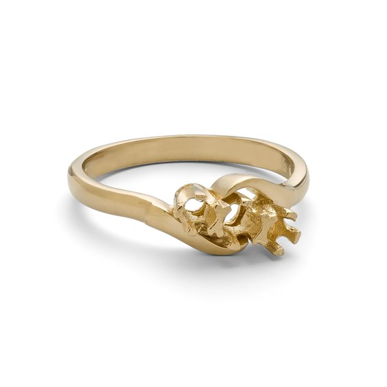 9ct Gold Ring for One 3mm & Two 2.5mm Faceted Stones
