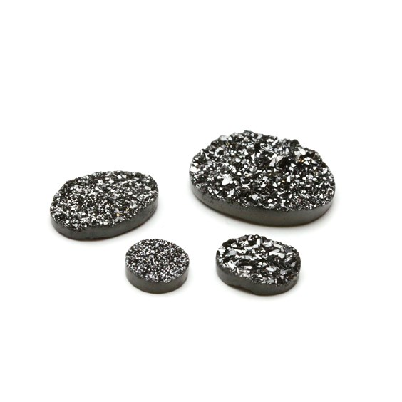 Shimmering Black Flat Drusy Cabochons