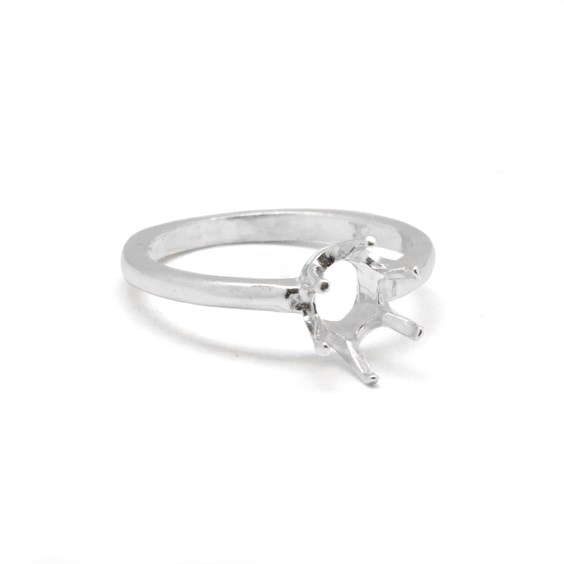 Sterling Silver Pre-Notched Ring For One 8x6mm Oval Faceted Stone
