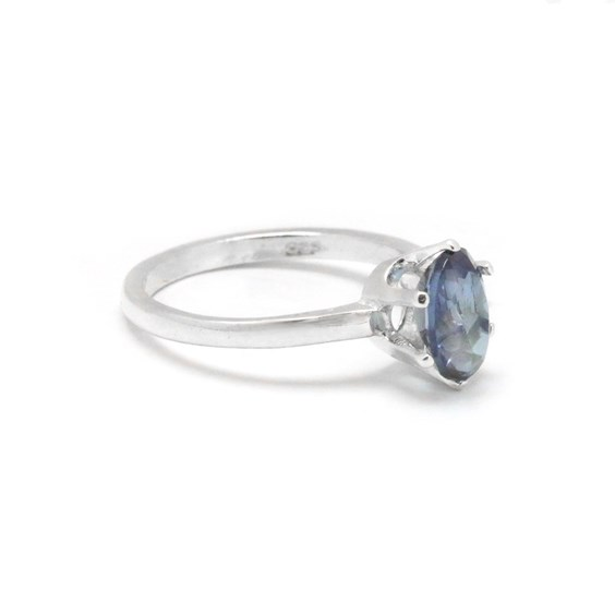 Sterling Silver 925 Faceted Oval Blue Aquamarine Diamond Halo Bail Claws Pendant