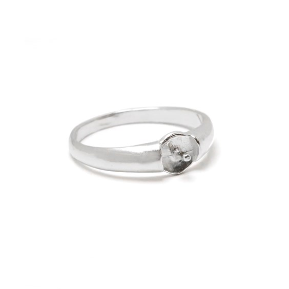 Sterling Silver Ring for One 4mm To 8mm Half Drilled Bead