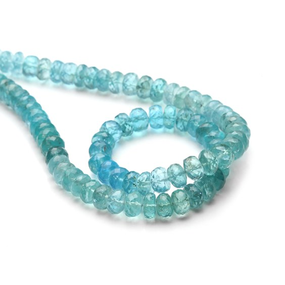 Apatite Faceted Rondelle Beads, Approx From 5x3mm To 7x5mm