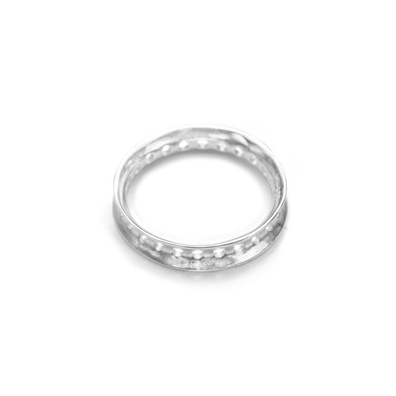 Sterling Silver Eternity Round Bead Design Frame