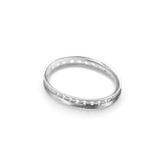 Sterling Silver Eternity Oval Bead Design Frame