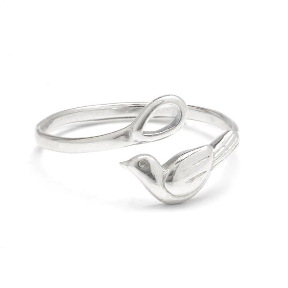 Sterling Silver Adjustable Magpie Ring with Loop