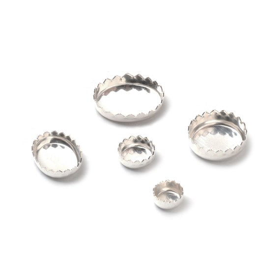 Fine Silver (99.9%) Serrated Edge Bezel Cups For Cabochons