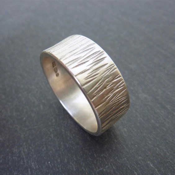 Sterling Silver Bark Effect Ring By Caroline Jones