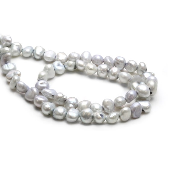 Cultured Freshwater Silver Semi-Baroque Pearls, Approx 6-10mm