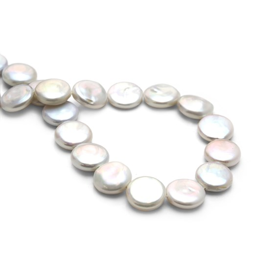 Cultured Freshwater Pearl Coin Beads, Approx 14mm