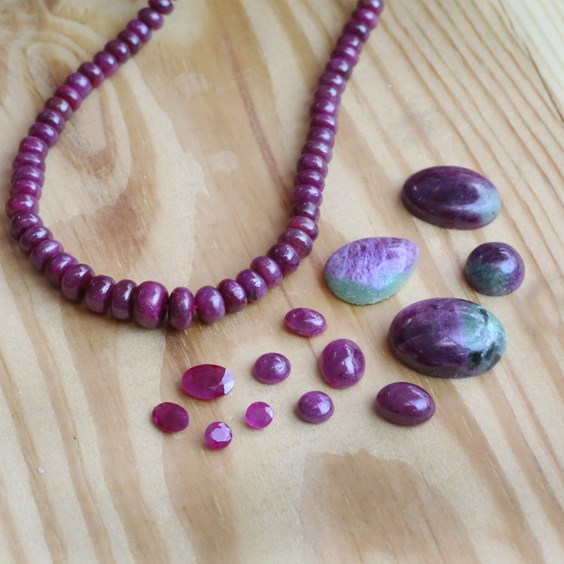 ruby gemstones for jewellery making from Kernowcraft