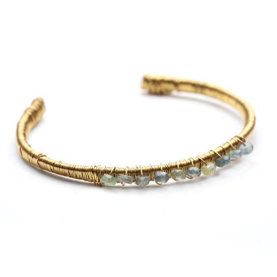 Aquamarine Gold Plated Cuff