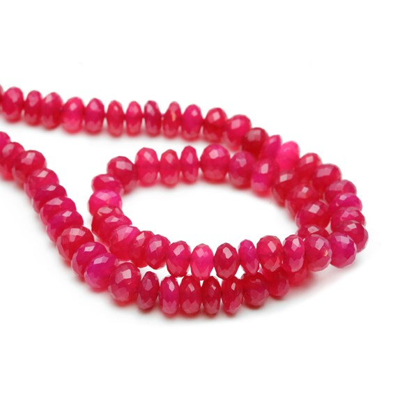Fuchsia Pink Chalcedony Faceted Rondelle Beads, Approx From 6x4mm