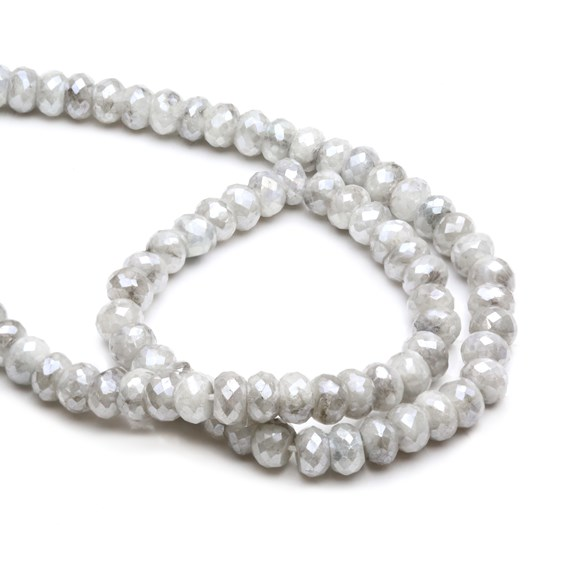 Silverite Faceted Rondelle Beads, Approx 6x4mm