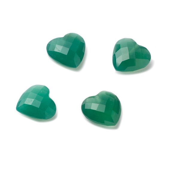 Top Drilled 10mm Faceted Checker Cut Green Agate Hearts