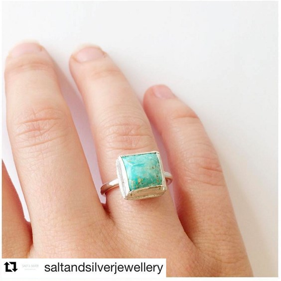 salt and silver jewellery Turquoise ring