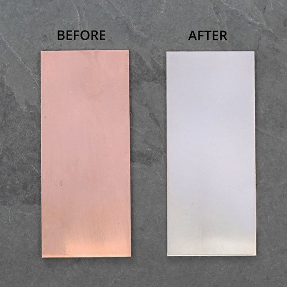 Silver plating solution on Copper - Before and After