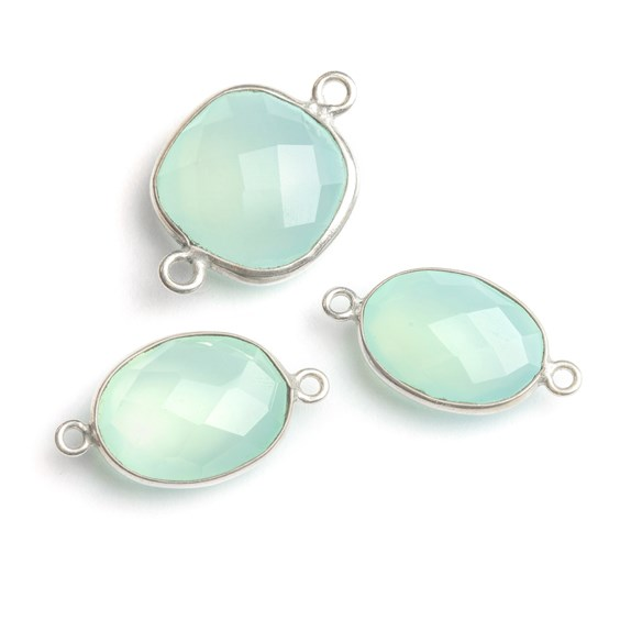 Sterling Silver Bezel Set Faceted Aqua Blue Chalcedony 17x13mm Oval Link Connector