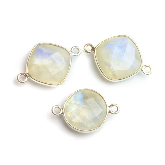 Sterling Silver Bezel Set Faceted Rainbow Moonstone Link Connector