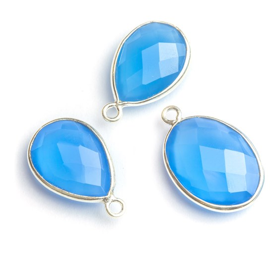 Sterling Silver Bezel Set Faceted Blue Chalcedony Pendant Connector