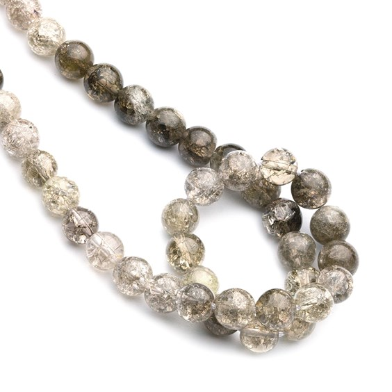 Crackle Smoky Quartz Round Beads, 8mm