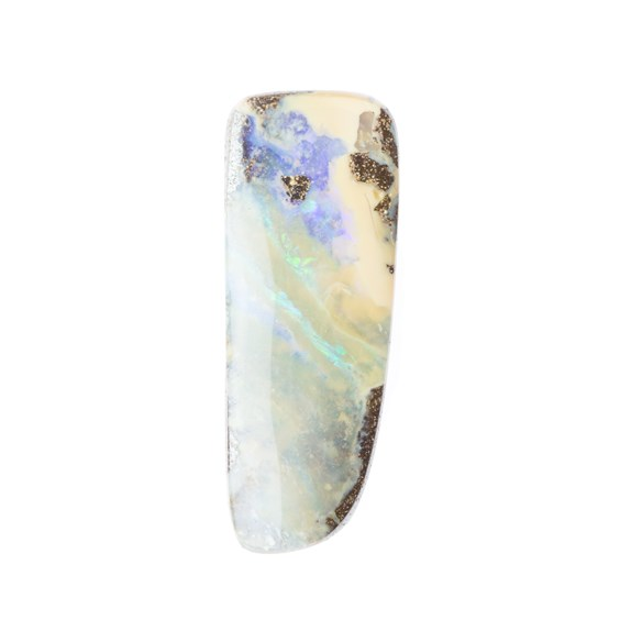 Australian Boulder Opal  Freeform Cabochon, Approx 32x12mm