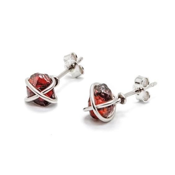 Garnet Wire Wrap Stud Earrings