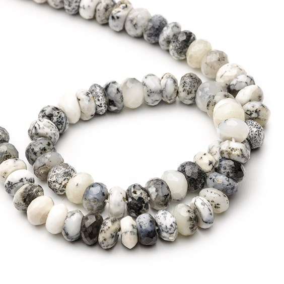 Dendrite Opal Faceted Rondelle Beads