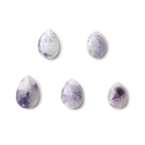 Charoite Faceted Teardrop Briolette Beads