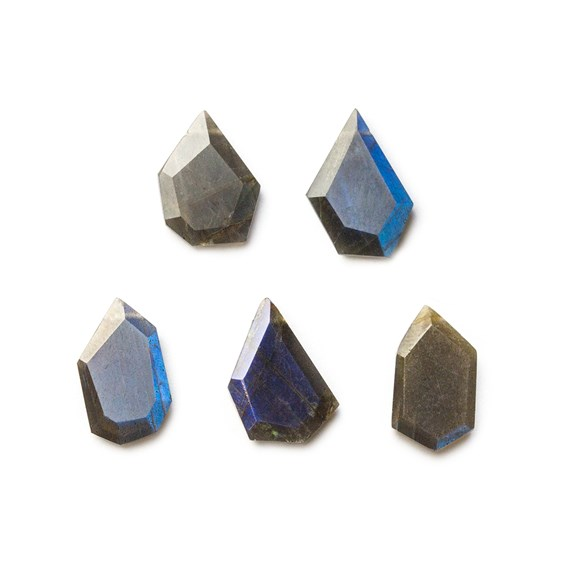 Spectrolite Faceted Head Drilled Slice Beads