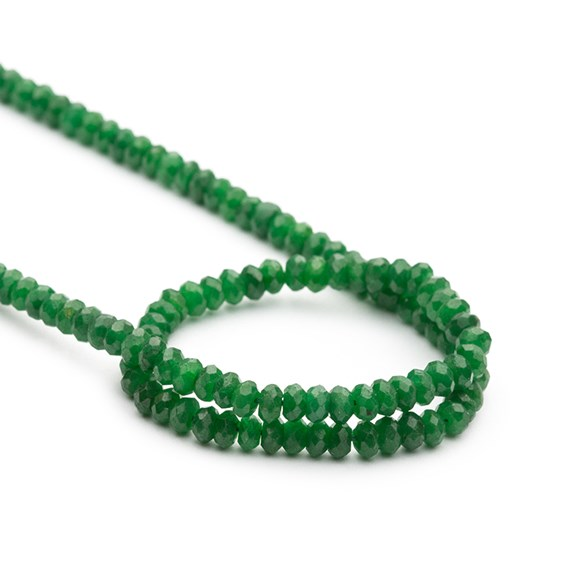 Corundrum 'Emerald' Faceted Rondelle Beads