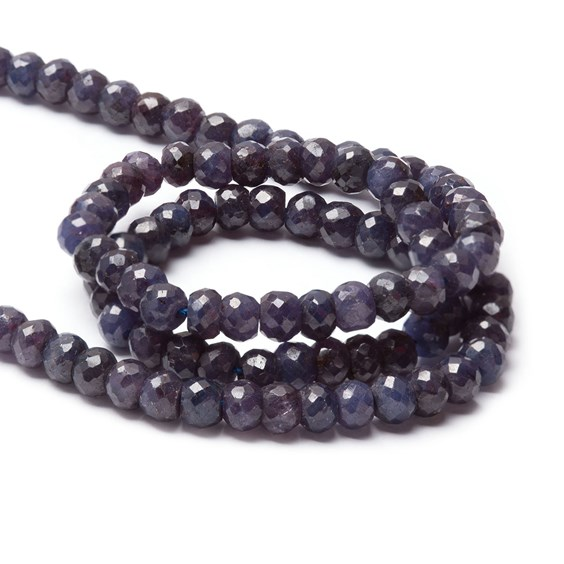 Corundum 'Sapphire' Faceted Rondelle Beads