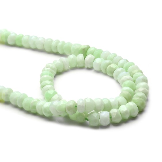 Green Peruvian Opal Faceted Rondelle Beads, Approx 4.5x2.5mm