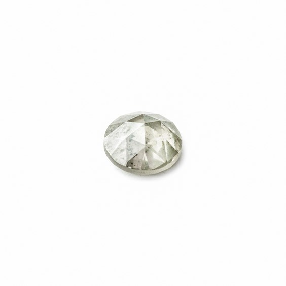 Silver Diamond Rose Cut Cabochon, Approx 4.8mm Round