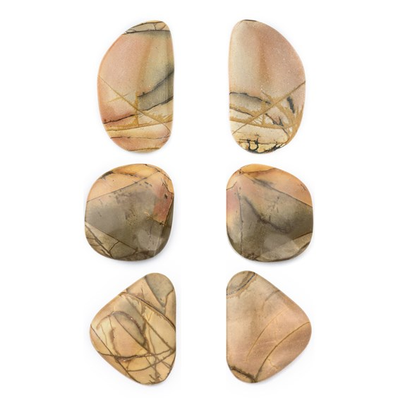 One Pair Of Red Creek Jasper Freeform Cabochons Approx 20x14mm