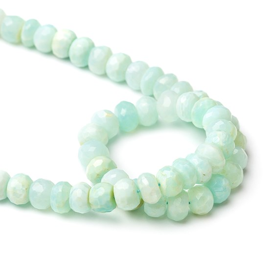 Aqua Blue Peruvian Opal Faceted Rondelle Beads, Approx 8x5mm