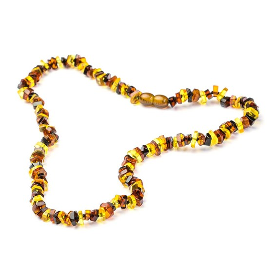 Mixed Colour Amber Chip Bead Necklace