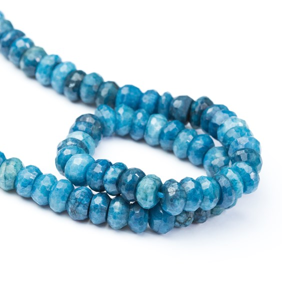 Chrysocolla Faceted Rondelle Beads, Approx 8x5mm