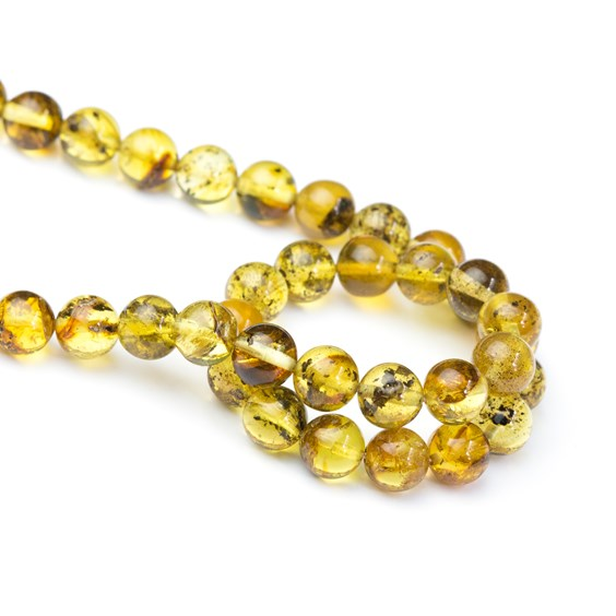 Organic Included Amber Round Beads, Approx From 7mm