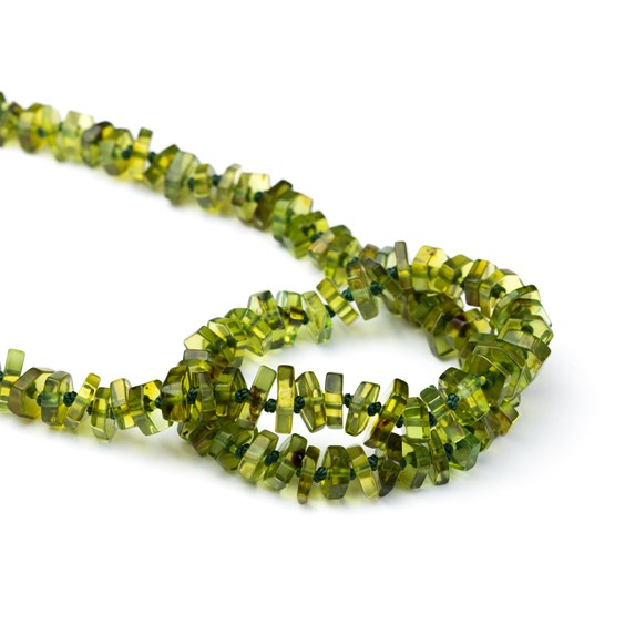 Green Amber Geometric Chip Beads, Approx 5-8mm