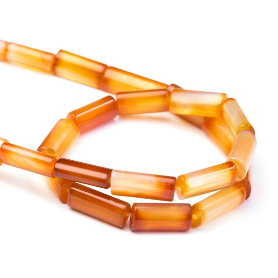 Carnelian Flat Cylinder Beads, Approx 16x8mm