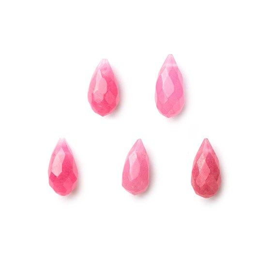 Pink Jade Faceted Drop Briolette Beads, Approx 11x6mm, Pack of 10 Beads