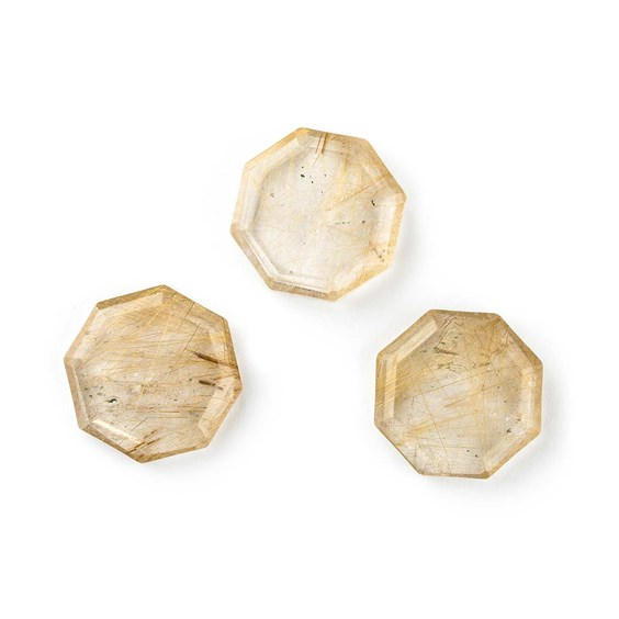 Golden Rutile Quartz Octagon Slices, Approx 15mm