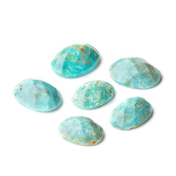 Untreated Natural Turquoise Faceted Checker Cut Stones