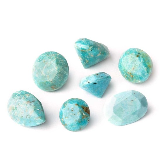 Untreated Natural Turquoise Faceted Stones, Approx 7x5mm Oval