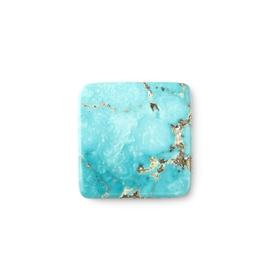 Untreated Natural Persian Turquoise Square Cabochon, Approx 21mm