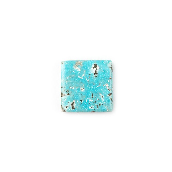 Untreated Natural Persian Turquoise Square Cabochon, Approx 15.5mm