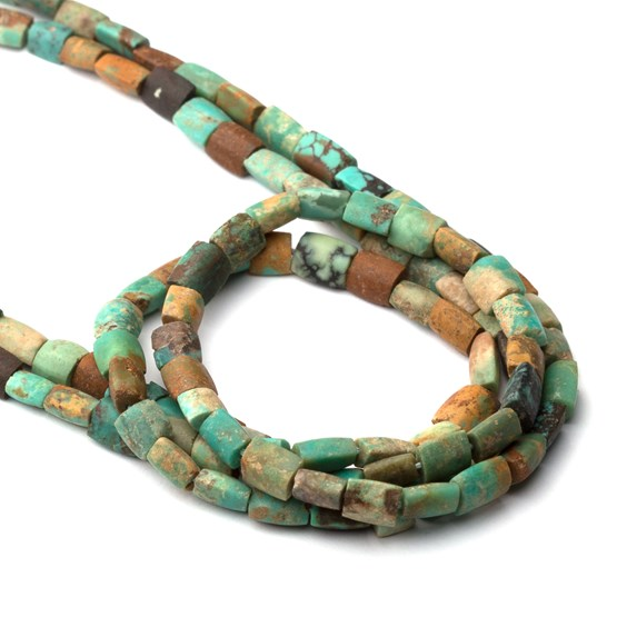 Tibetan Turquoise Elliptical Tube Beads, Approx 5.5x3.5mm