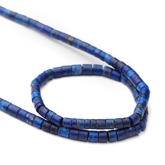 Lapis Lazuli Matt Finished Tube Beads, Approx From 2.5x2mm To 3.5x3.5mm