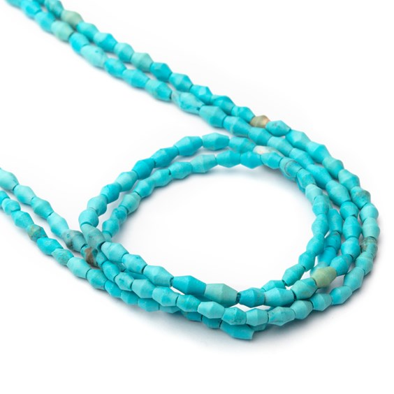 Arizona Turquoise Matt Finished Barrel Beads, Approx 3.5x2.5mm